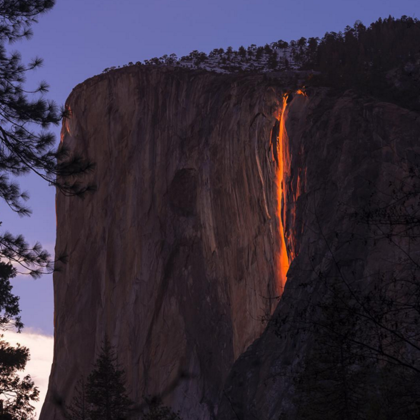Horsetail Falls fire, Leap Day, natural phenomena