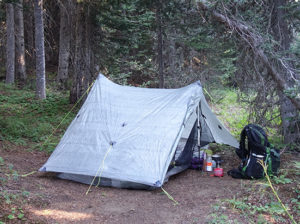 PCT picture of tent along Arch Rock Trail